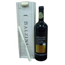 """I BALZINI"" Black Label IGP w/wood 2001 (Gift Set Packing) (Red Wine)"